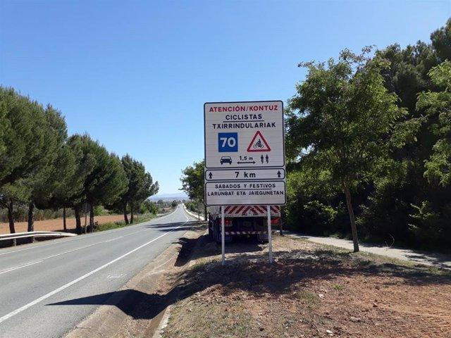 El Gobierno de Navarra señaliza dos vías de uso frecuente de ciclistas de carretera