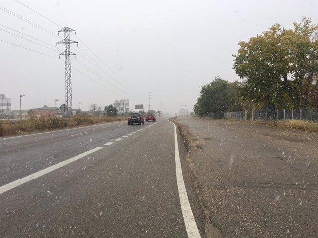 Valladolid.- La nieve condiciona la circulación