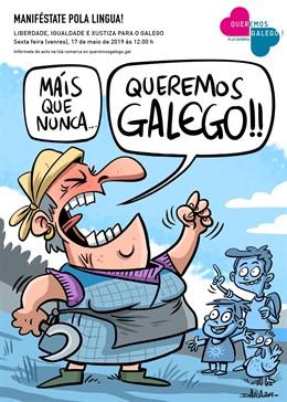 """Queremos Galego va pidir """"xusticia y llibertá"""" pal idioma con protestes en toles contornes el 17 de mayu"""