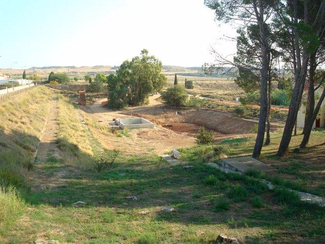 La CHE finaliza la construcción de un filtro invertido en el pie de la presa La Estanca de Alcañiz