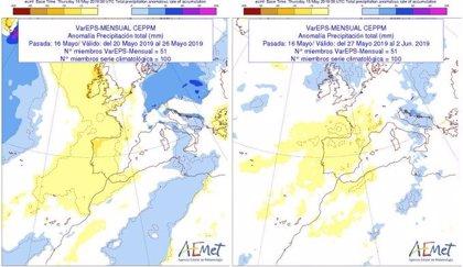Escasas lluvias y temperaturas por encima de lo normal las próximas dos semanas