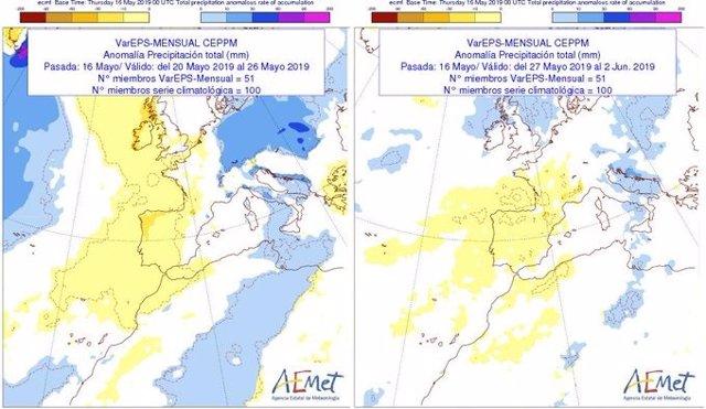 La Aemet prevé escasas lluvias y temperaturas por encima de lo normal durante las próximas dos semanas