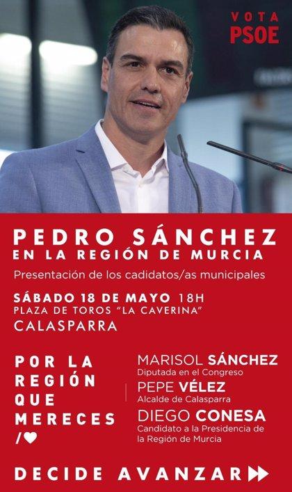 Pedro Sánchez estará este sábado en Calasparra