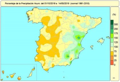 La falta de lluvias acumulada en el año hidrológico sube dos puntos esta semana de estabilidad, hasta el l2%