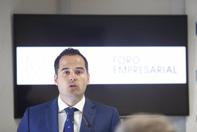 El candidato de Ciudadanos a la Presidencia de la Comunidad de Madrid, Ignacio Aguado, participa en un el ciclo 'Nuevos Retos, Nuevas Respuestas' en el Deusto Business School