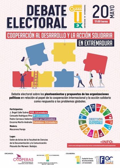 26M.- La UEX celebrará el próximo lunes un debate electoral entre partidos sobre política de cooperación y acción social
