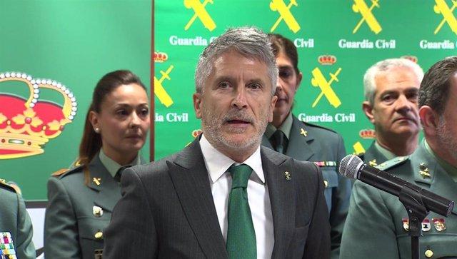 Acto del ministro del Interior, Fernando Grande-Marlaska, con la Guardia Civil tras la detención de Josu Ternera
