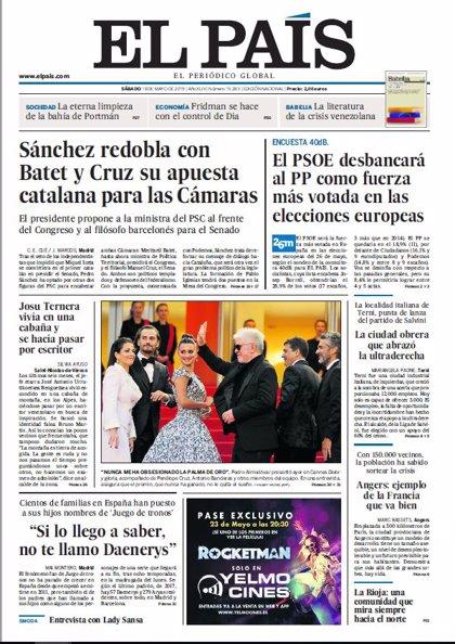 Las portadas de los periódicos del sábado 18 de mayo de 2019