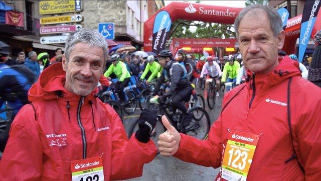 Los veteranos atletas españoles Martín Fiz y Abel Antón.