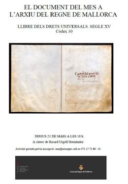 L'Arxiu del Regne de Mallorca presenta aquest dijous el Llibre dels drets universals com a document del mes