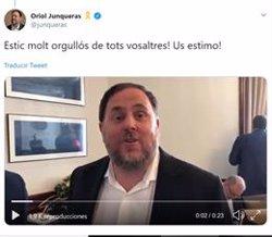 Oriol Junqueras grava un vídeo al Congrés i el difon a les xarxes socials malgrat les restriccions del Suprem (ERC TWTTER)