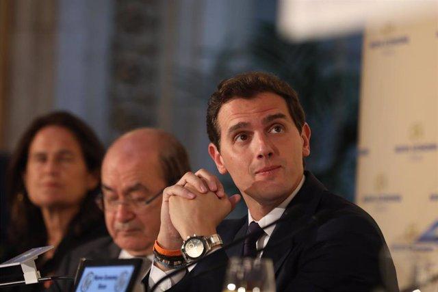 Albert Rivera y el candidato de Ciudadanos a la Presidencia de la Comunidad de Madrid, Ignacio Aguado, participan en un Desayuno Informativo de Nueva Economía Fórum