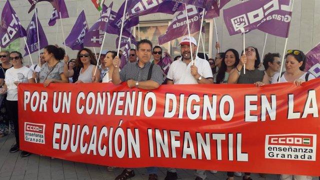 CCOO Enseñanza protesta en las ocho provincias por un convenio colectivo digno en el primer ciclo de Educación Infantil
