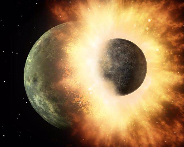Un planeta enano descarriado marcó diferencias en las caras de la Luna