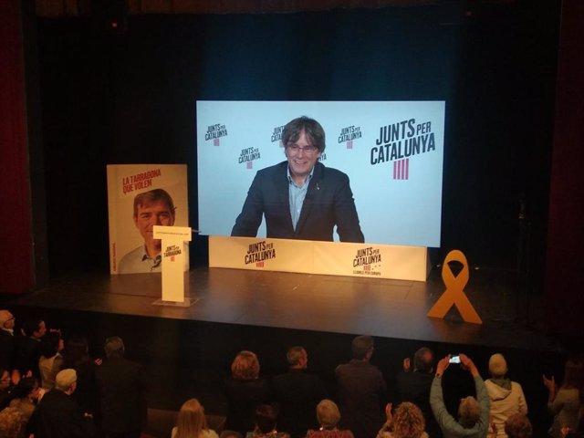 """AV.- 26M.- Puigdemont dice que la actitud del 1-O es el """"antídoto ante las amenazas"""" que tiene Europa"""