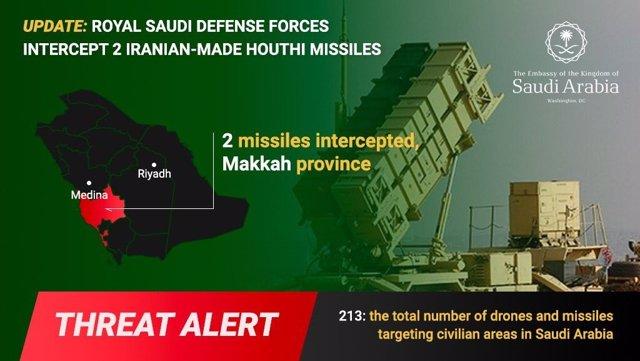 Yemen.- Antiaéreos saudíes interceptan dos misiles huthis en la provincia de La Meca
