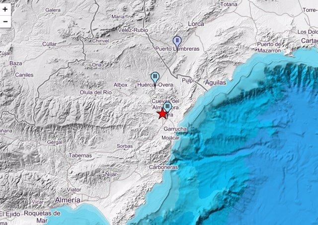 Almería.-Sucesos.-Registrado un seísmo de magnitud 3,5 con epicentro en Cuevas d