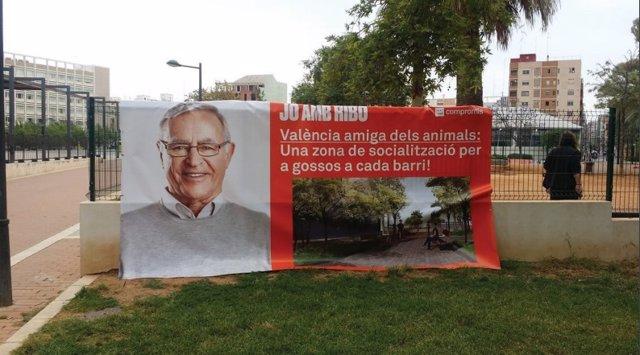 """26M.- Valencia.- El PP Denuncia Que Una Pancarta Electoral De Compromís """"Vulnera"""" La LOREG Y La Ordenanza De Publicidad"""