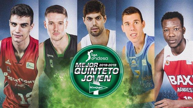 Baloncesto.- Alocén, Cancar, Sahko, López-Aróstegui y Yusta componen el Mejor Quinteto Joven de la Liga Endesa