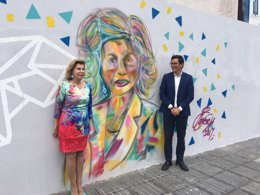 Nardy Barrios inaugura un mural inspirado en ellaN