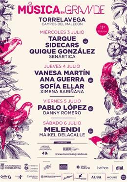 Melendi, Vanesa Martín, Pablo López, Sidecars, Tarque y Ana Guerra, en el festival Música en Grande