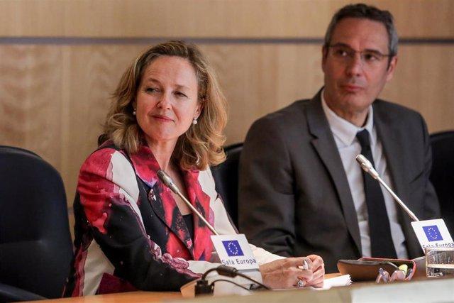 La ministra Nadia Calviño interviene en una conferencia organizada por Funcas