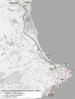 Aprobado el proyecto de transporte en autobús entre València y Benidorm, que crea nuevos servicios exprés