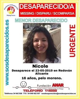 Alacant.- Successos.- Busquen una menor de 16 anys desapareguda des d'aquest dijous a Redovà