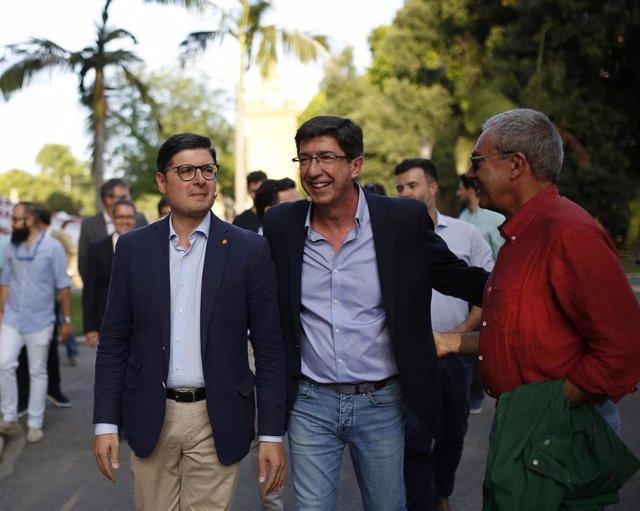 El portavoz de Cs en Andalucía, Juan Marín, participa en el acto de cierre de campaña