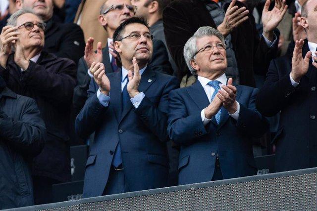 BARCELONA, SPAIN - MARCH 04: Josep Maria Bartomeu president of FC Barcelona and Enrique Cerezo president of Atletico de Madrid during La Liga match between FC Barcelona v Atletico de Madrid at Camp Nou Stadium in Barcelona on 04 of March, 2018.