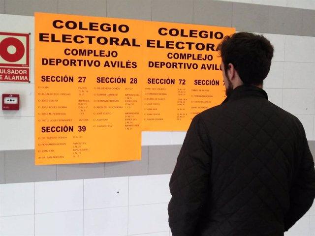 La participación n'Asturies ye del 58,66% a les 18.00 hores, 8 puntos más qu'en 2016