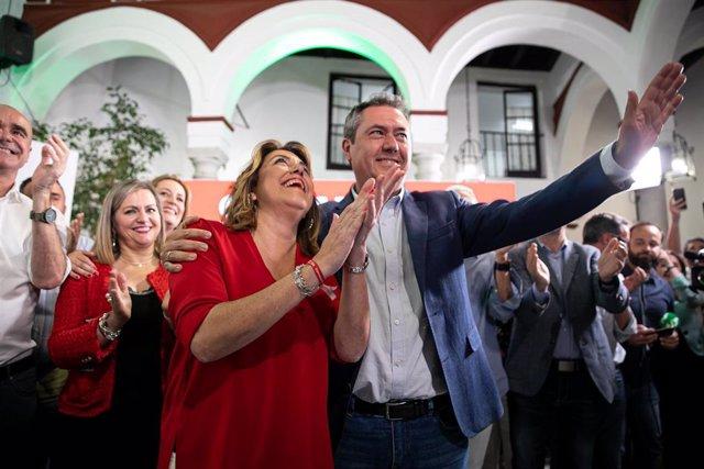 Seguimiento de los resultados electorales desde la sede del PSOE-A.El alcalde de Sevilla y candidato a la reelección, Juan espada junto a la secretaria general del PSOE-A, Susana Díaz,