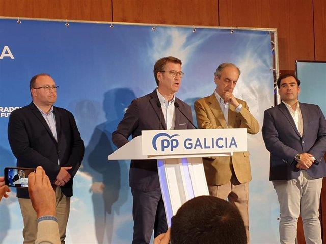 El presidente del PP de Galicia, Alberto Núñez Feijóo, el secretario general del PP de Galicia, Miguel Tellado, el diputado Alberto Pazos Couñago y el eurodiputado Francisco Millán Mon valoran los resultados de las elecciones del 26 de mayo