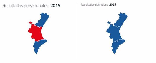 26M-M.- Valencia Lleva Al PSPV A Ser La Fuerza Más Votada En La Comunitat, Donde Alicante Y Castellón Siguen Votando PP