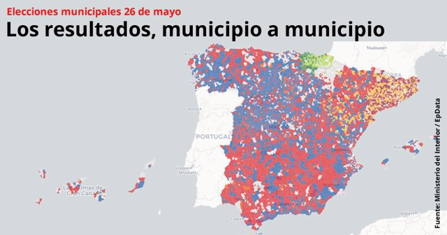 Mapa de resultado de elecciones municipales 2019, municipio a municipio
