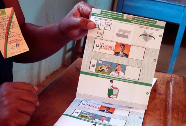 Papeleta electoral en Madagascar