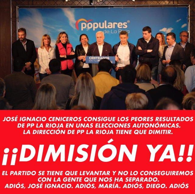 """Nace en Twitter #DimiteCeniceros pidiendo un nuevo lider que """"deje paso a gente que quiera levantar este partido"""""""