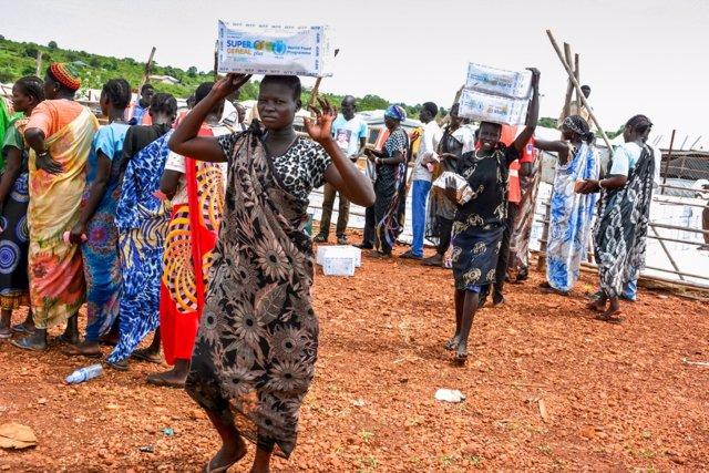 Reparto de ayuda en Sudán del Sur