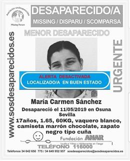Sevilla.- Sucesos.- Encuentran a la menor de edad desaparecida en Osuna desde hace dos semanas