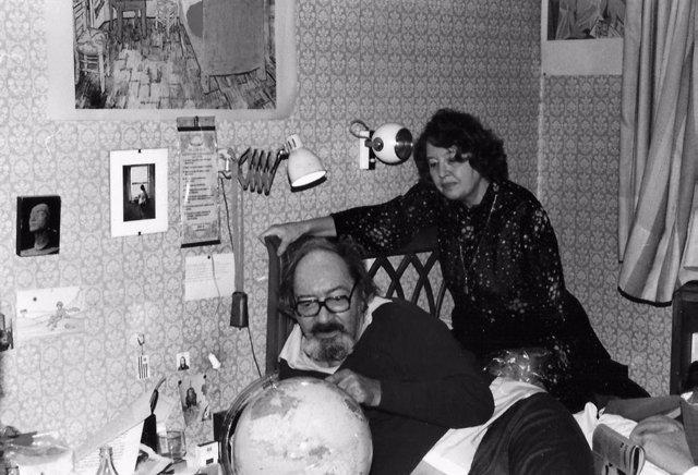 La viuda de Juan Carlos Onetty, Dolly, y Onetti