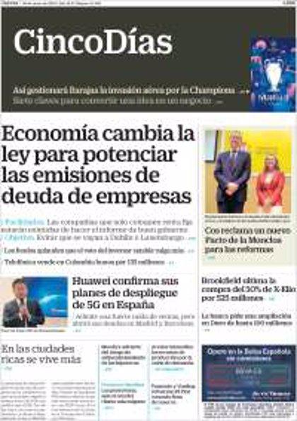 Las portadas de los periódicos económicos de hoy, jueves 30 de mayo