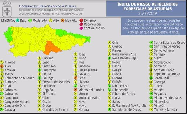 Tres concejos asturianos estarán este viernes en riesgo 'muy alto' de incendios