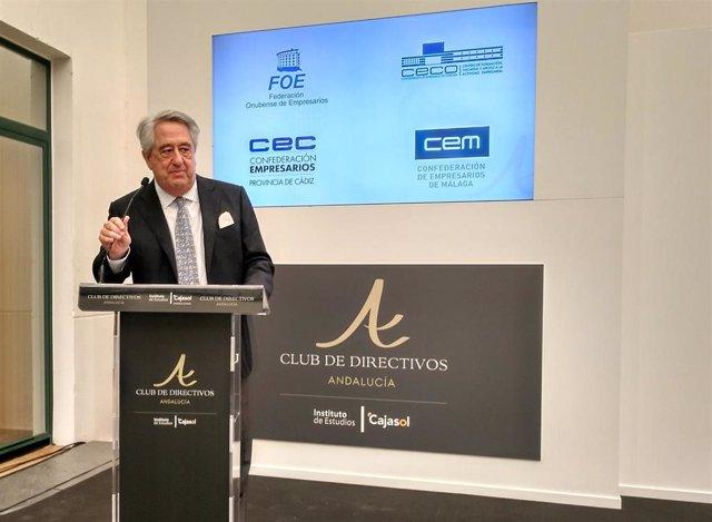 Cajasol.-Javier Targhetta apuesta por conseguir crecimiento económico para superar los retos de España y el 'populismo'