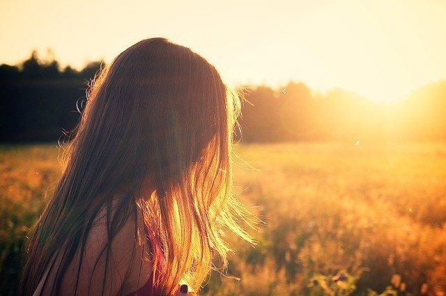 Pelo rojo, pelirroja, cabello, puesta de sol, verano, atardecer, amanecer