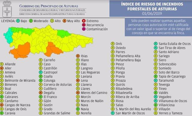 Seis concejos asturianos estarán este sábado en riesgo 'muy alto' de incendios forestales