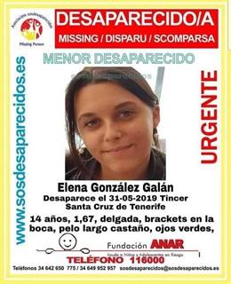 Sucesos.- Buscan a una niña de catorce años desaparecida en Tíncer (Tenerife)