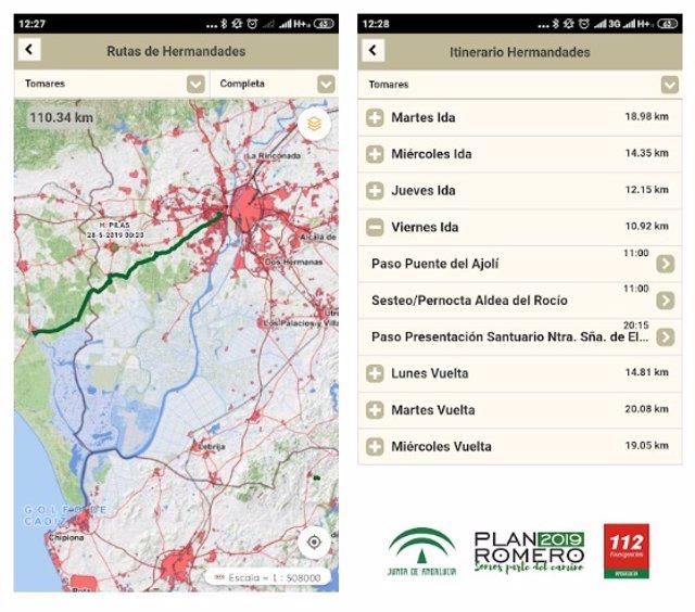La Junta ofrece en la App Plan Romero información puntual sobre los recorridos de las hermandades del Rocío