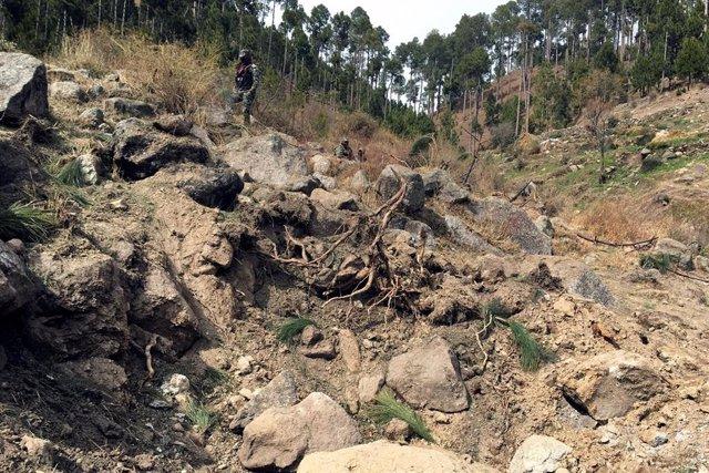 Lugar del bombardeo de la aviación india en Pakistán