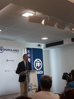 """PP vasco no """"colaborará"""" con PNV si obstaculiza un gobierno de Navarra Suma o apoya un Estatuto soberanista en Euskadi"""