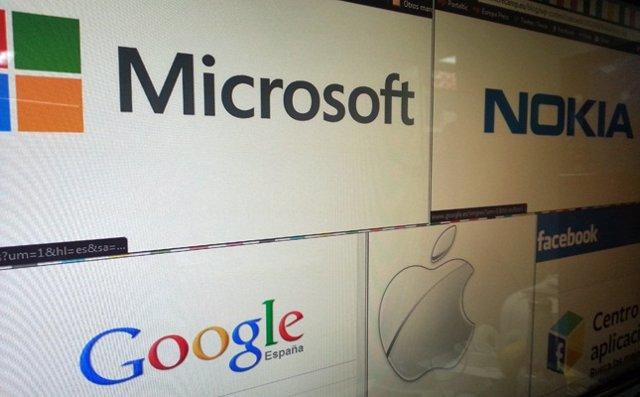 Logotipos de las compañías Microsoft, Nokia, Apple, Google y Facebook Internet
